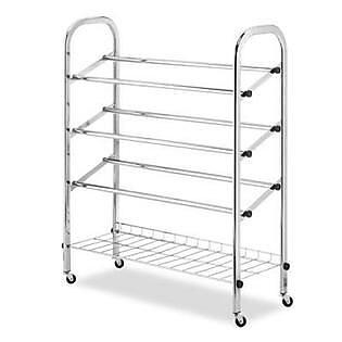 Whitmor 12 Pairs Capacity Rolling Shoe Rack, Chrome