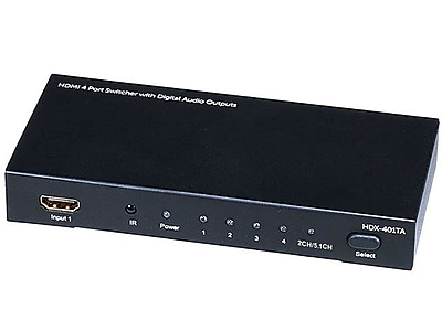 Monoprice® 105557 4 X 1 HDMI Switcher With Toslink & Digital Coaxial Port