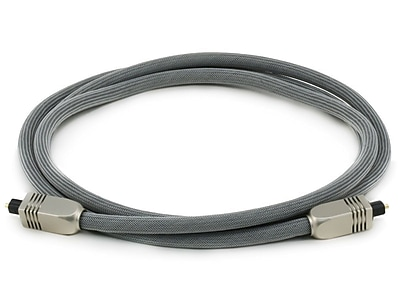 Monoprice® Premium 6' Optical Toslink Cable With Metal Fancy Connector, Gray