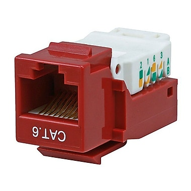 Monoprice® Cat6 RJ-45 Toolless Keystone Jack, Red