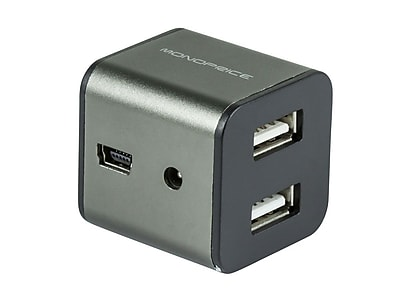 Monoprice® 4 Port USB 2.0 Cube Hub, Gray
