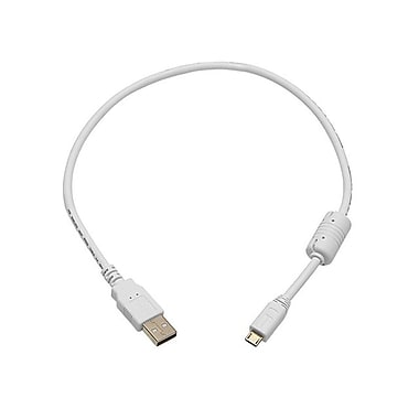 Monoprice® 1.5' USB 2.0 A Male to Micro 5pin Male 28/24AWG Cable With Ferrite Core, White