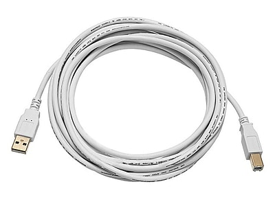 Monoprice® 10' Gold Plated USB 2.0 A Male to B Male 28/24AWG Cable, White