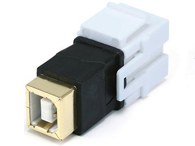 Monoprice® USB 2.0 B Female to Female Coupler Adapter Flush Type Keystone Jack, White