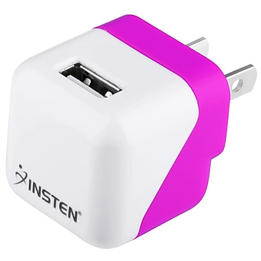 Insten® 1496823 5 VDC USB Mini Travel Chargers, Hot Pink