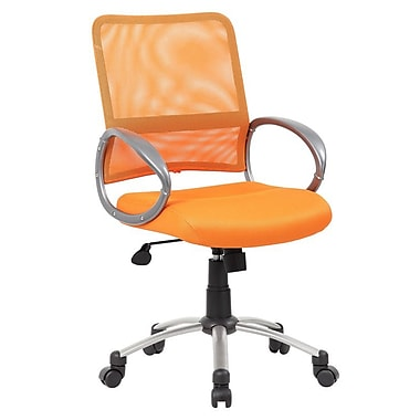 Boss Mesh Executive Office Chair, Adjustable Arms, Orange (B6416-OR)