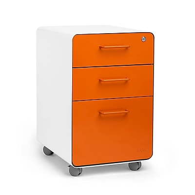 Poppin, Stow File Cabinet, Rolling 3-Drawer, White + Orange (100921)