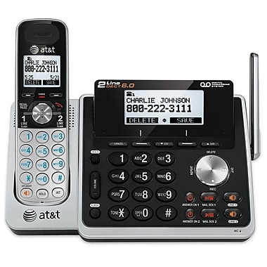 AT&T TL88102 Two-Line DECT 6.0 Expandable Phone, Cordless with Answering System and One Handset, Silver/Black