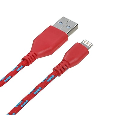 Insten 6 ft Woven Pattern Data Cable, Red (1522887)