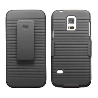 Insten® Rubberized Hybrid Holster For Samsung S5 Mini, Black
