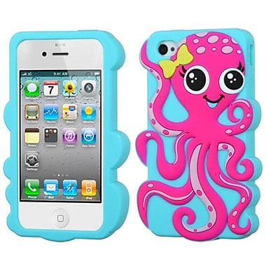 Insten® Pastel Skin Case F/iPhone 4/4S, Hot-Pink/Baby Blue Octopus