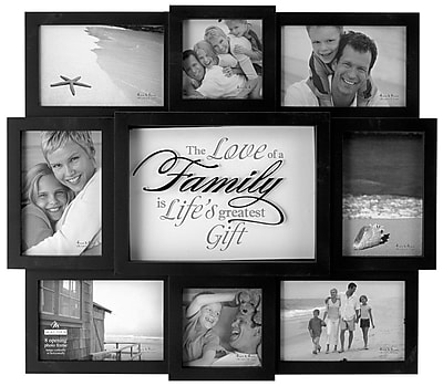 Malden 8-Opening The Love of a Family Wood Wall Collage Picture Frame, Black, 4