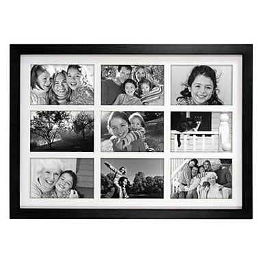 Malden Classic Linear 9-Opening Wood Collage Picture Frame, Black, 4