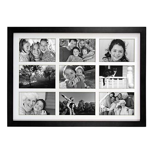Malden Classic Linear 9-Opening Wood Collage Picture Frame, Black, 4 ...