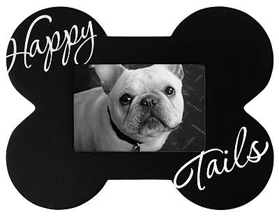 Malden Dog Bone Shaped Happy Tails Wood Picture Frame, Black, 3.5