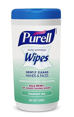 Purell® Hand Sanitizing Wipes, Fragrance Free, 40 Count Canister
