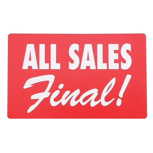 """Display Card """"ALL SALES FINAL"""", Red/White, 7"""" x 11"""""""
