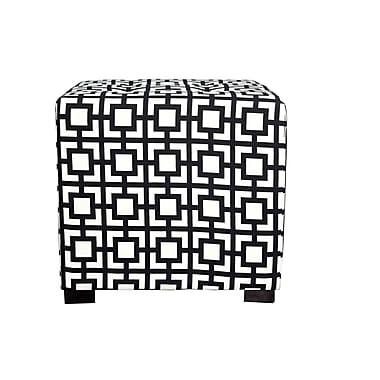 MJLFurniture Merton Gigi Square 4-Button Upholstered Ottoman; Black/White