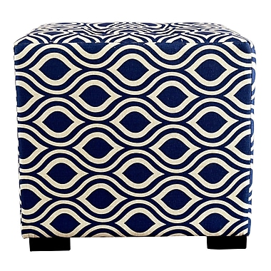 MJLFurniture Merton Nicole Square 4-Button Upholstered Ottoman; Dark Blue/Gray