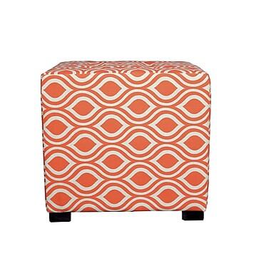 MJLFurniture Merton Nicole Square 4-Button Upholstered Ottoman; Orange/Gray