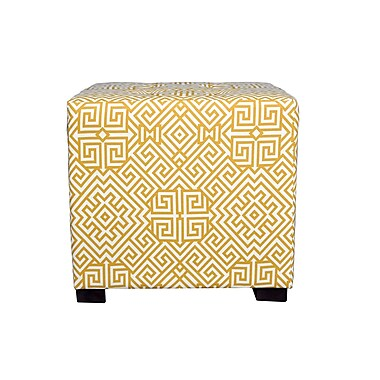 MJLFurniture Merton Santorini Square 4-Button Upholstered Ottoman; Yellow/White