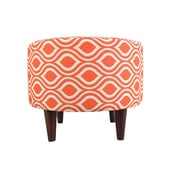 MJLFurniture Sophia Nicole Round Ottoman; Orange/Gray