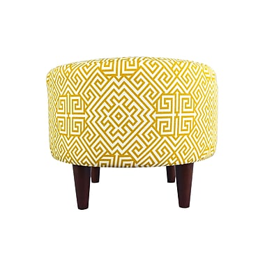 MJLFurniture Sophia Santorini Round Ottoman; Yellow/White