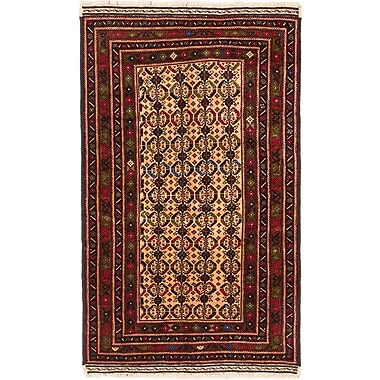 ECARPETGALLERY Finest Mouri Hand-Knotted Ivory/Red Area Rug