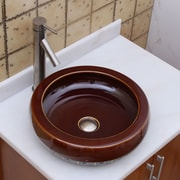 Elimaxs Chocolate Caramel Circular Vessel Bathroom Sink; Brushed Nickel