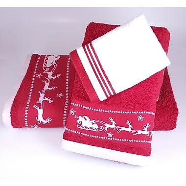 Enchante Home Santa Embellished 3 Piece Towel Set; Red
