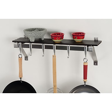 Concept Housewares Stainless Steel Wall Mounted Pot Rack; Espresso Wood