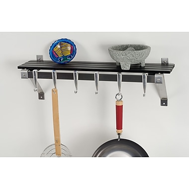 Concept Housewares Stainless Steel Wall Mounted Pot Rack; Gray