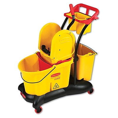 Rubbermaid® Commercial Wavebrake Mopping Trolley Down-Press Bucket/wringer Combo, 8.75 Gal, Yellow