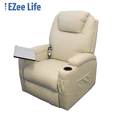Ezee Life CH4013 Mercury Leather Lift Chair with Cup Holders & Tray, Tan