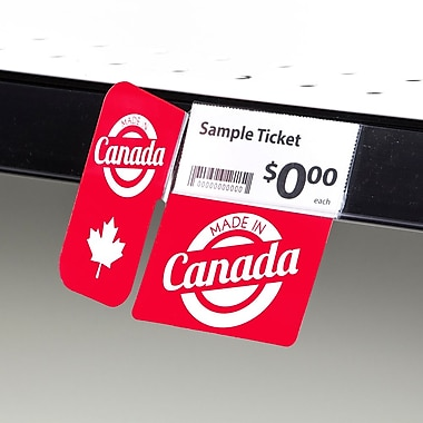 KostklipMD (S119-107201) – Coll. signature «Made in Canada», pancarte à angle droit ShelfTalkerMC, 1,25x2,5 po, 2/2, 25/paq.