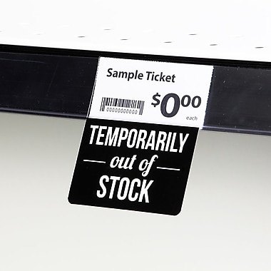 KostklipMD (S126-107139) – Coll. signature « Temporarily Out Of Stock », pancarte ShelfTalkerMC, 1,25x2,5 po, 2/0, 25/paq.