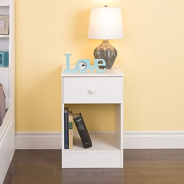 Prepac Astrid Tall 1-Drawer Night Stand, White
