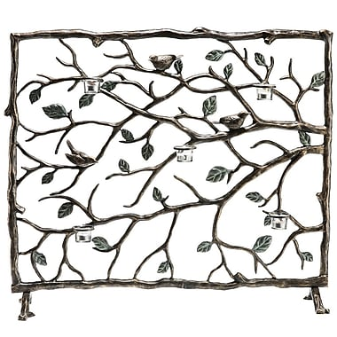 SPI Home Bird and Branch Single Panel Aluminum Fireplace Screen