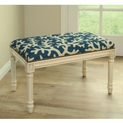 123 Creations Coastal Upholstered & Wood Bench; Navy