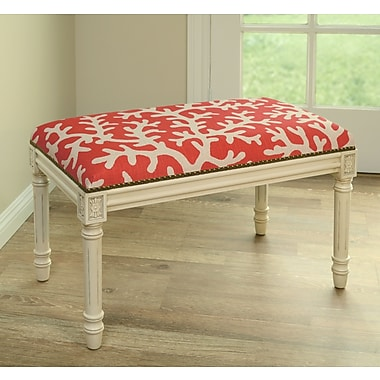 123 Creations Coastal Upholstered & Wood Bench; Red
