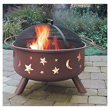 Landmann Big Sky Stars and Moon Steel Wood Burning Fire pit; Georgia Clay