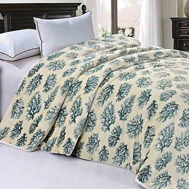 BOON Throw & Blanket Safari Animal Nature Faux Fur and Sherpa Queen Size Blanket; Silver Blue Coral