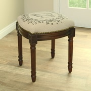 123 Creations Sheep Linen Upholstered Vanity Stool w/ Nailhead