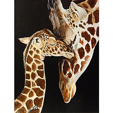Buy Art For Less Kissing Giraffe by Ed Capeau Painting Print on Wrapped Canvas