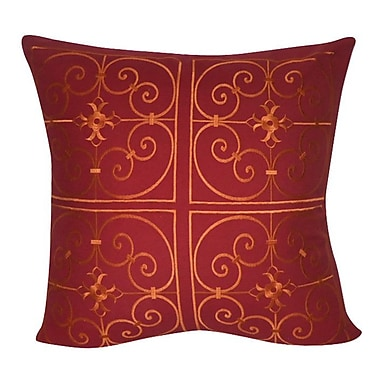 Loom and Mill Damask Decorative Throw Pillow; Red