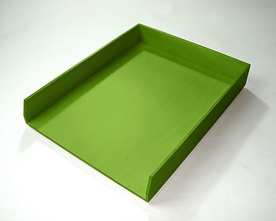Bindertek Bright Wood Desk Stackable Letter Paper Tray, Green (BTLTRAY-GR)