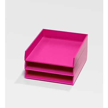 Bindertek Bright Wood Desk Organizing System, 3 Tray Set, Pink (BTSET1-PK)