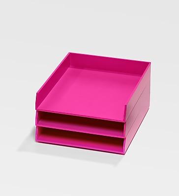 Bindertek Bright Wood Desk Stackable Letter Paper 3 Tray Set, Pink (BTSET1-PK)
