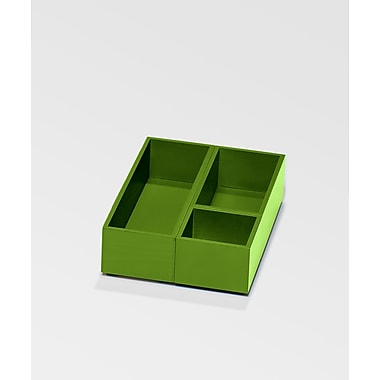 Bindertek Bright Wood Desk Organizing System, Accessory Tray & Cup Set, Green (BTSBOX-GR)