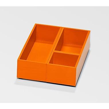 Bindertek Bright Wood Desk Organizing System, Accessory Tray & Cup Set, Orange (BTSBOX-OR)
